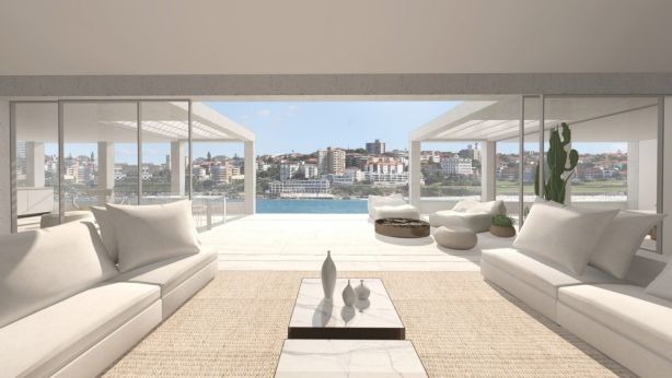 The two-storey spread is set atop an oceanfront apartment block. Photo: Supplied