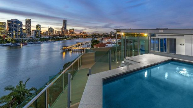 On the rooftop at 5/5 Griffith Street, New Farm, featuring its own private plunge pool and entertainment area.