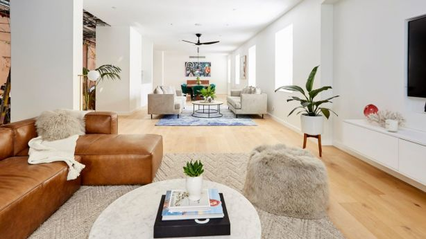 Courtney and Hans' mammoth living and dining space. Photo: Channel Nine