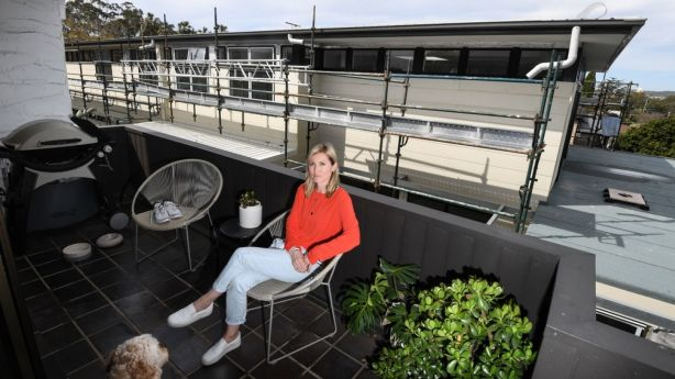 Ainsley Johnstone on her balcony. Photo: Peter Rae