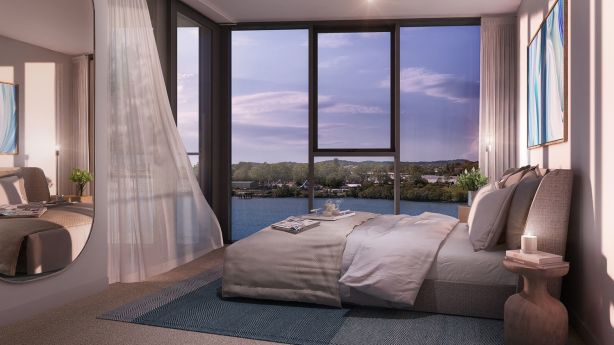 Inside a bedroom with views at Gallery House Two, Hamilton.