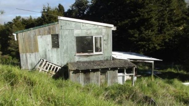 This derelict bach sits on 6.4 hectares in Towai, Northland. But there is no access to the landlocked site, so it will have to be sold sight unseen, unless you view it by helicopter or drone. Photo: Stuff.co.nz
