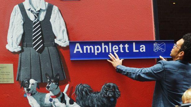 Charley Drayton at the opening of Amphlett Lane, named after rock singer Chrissy Amphlett. Photo: Joe Armao