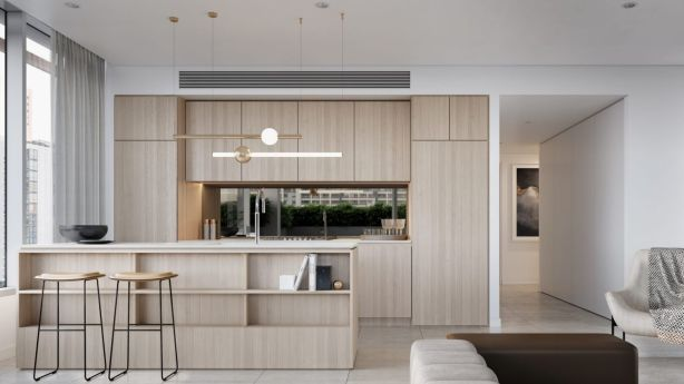 Interiors feature a neutral, natural palette rules, with generous use of timber and soft, warm tones. Photo: Artist impression