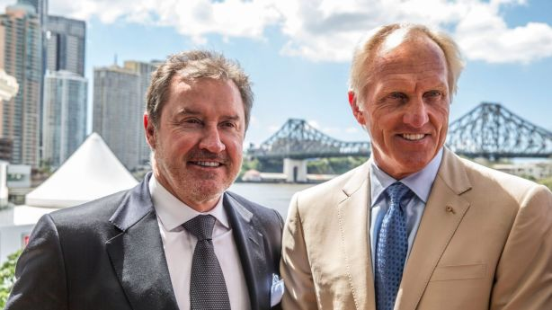 Terry Agnew, pictured left with Greg Norman, has set a national non-waterfront record of about $60 million. Photo: Glenn Hunt