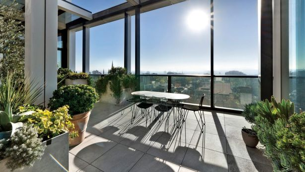 Outdoor entertaining with a twist: The terrace at 1901/35 Spring Street. Photo: Supplied