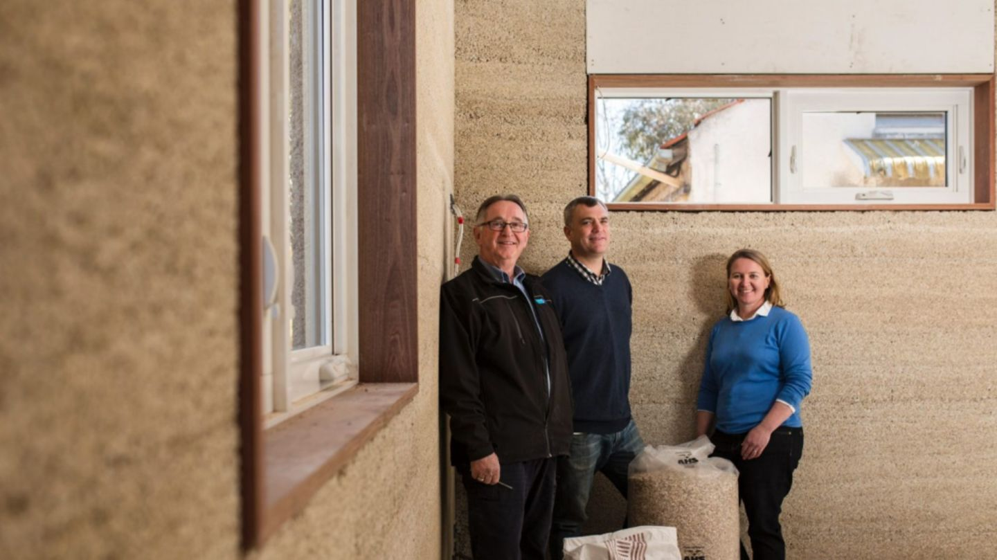 Construction of Canberra's first hemp house. From left, Director of Prostyle Building David Fogg, house owner Rowan Woodburn, and designer at Plan It Green Angela Knock. Photo: Jamila Toderas