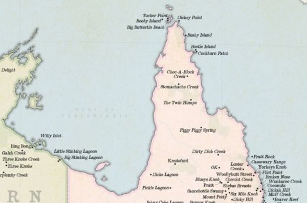 Australia Map Rude Names.A Map Of Australia S Funniest Place Names