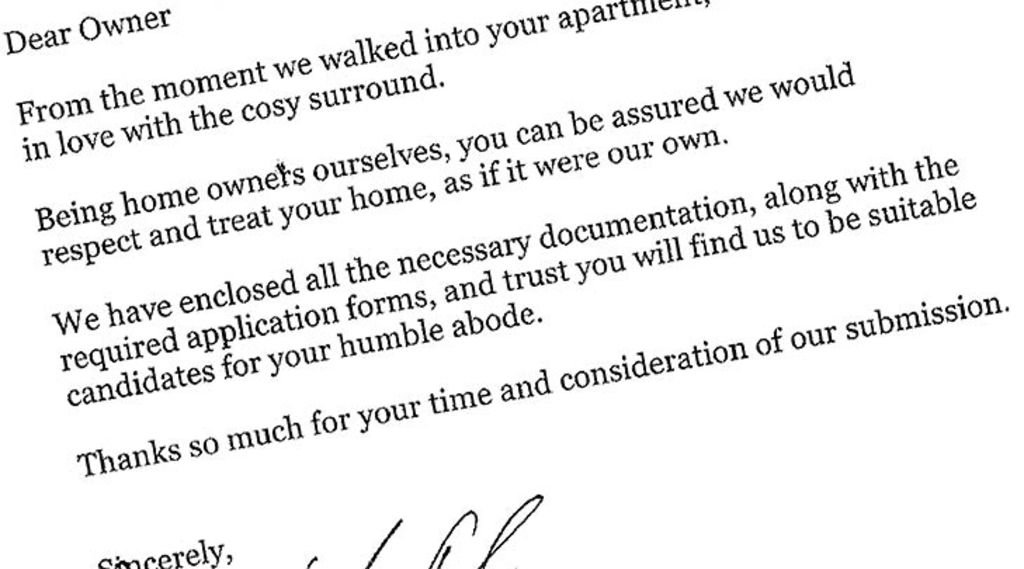 A cover letter to top it off ... Jim Gomberg's and Bree Taylor's message to the landlord.