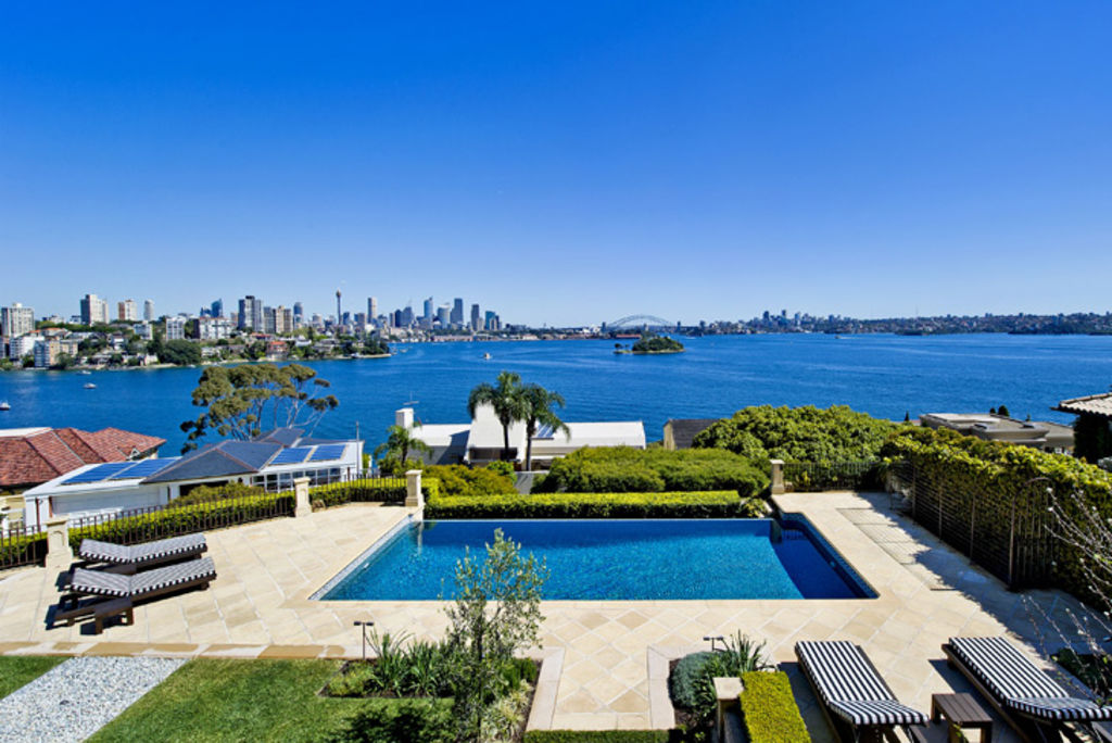 Prized position ... the pool and spectacular harbour views from Julia Ross's mansion on Wolseley Road, Point Piper.