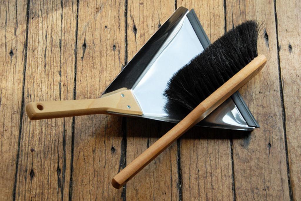 Dustpan and brush.