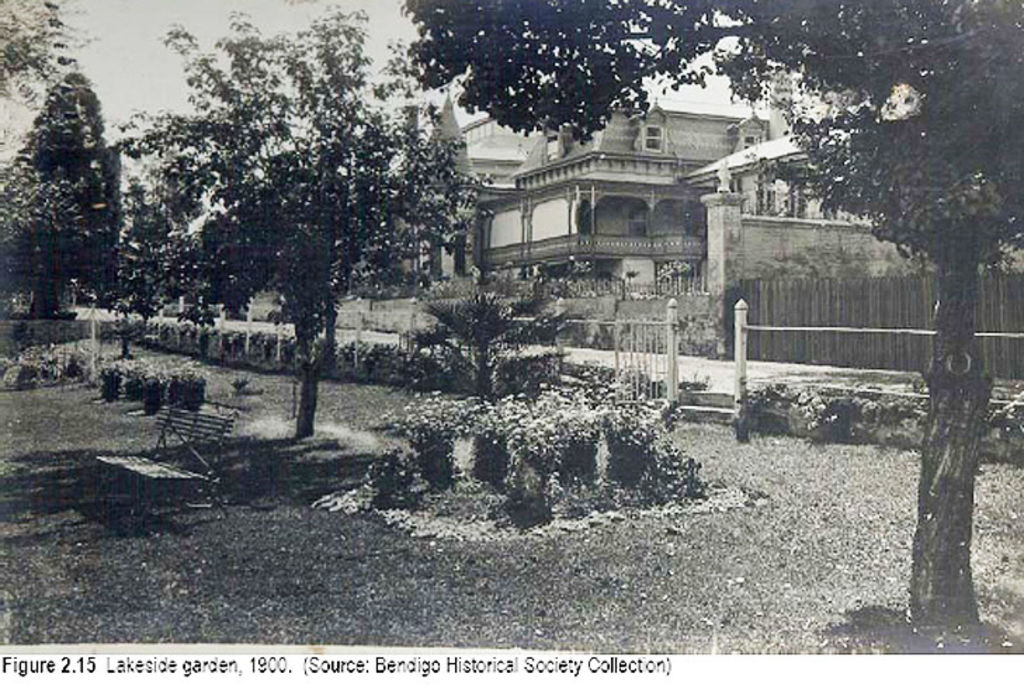 The lakeside gardens of Fortuna Villa in 1900. Photo:Bendigo Historical Society.