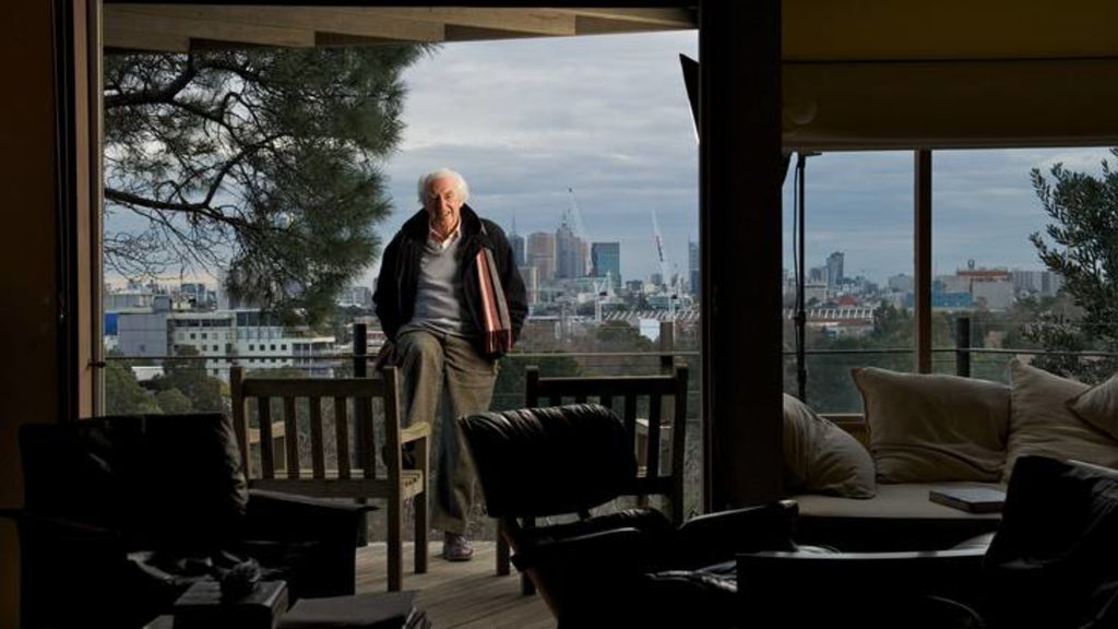 Peter McIntyre at his home on the Yarra.