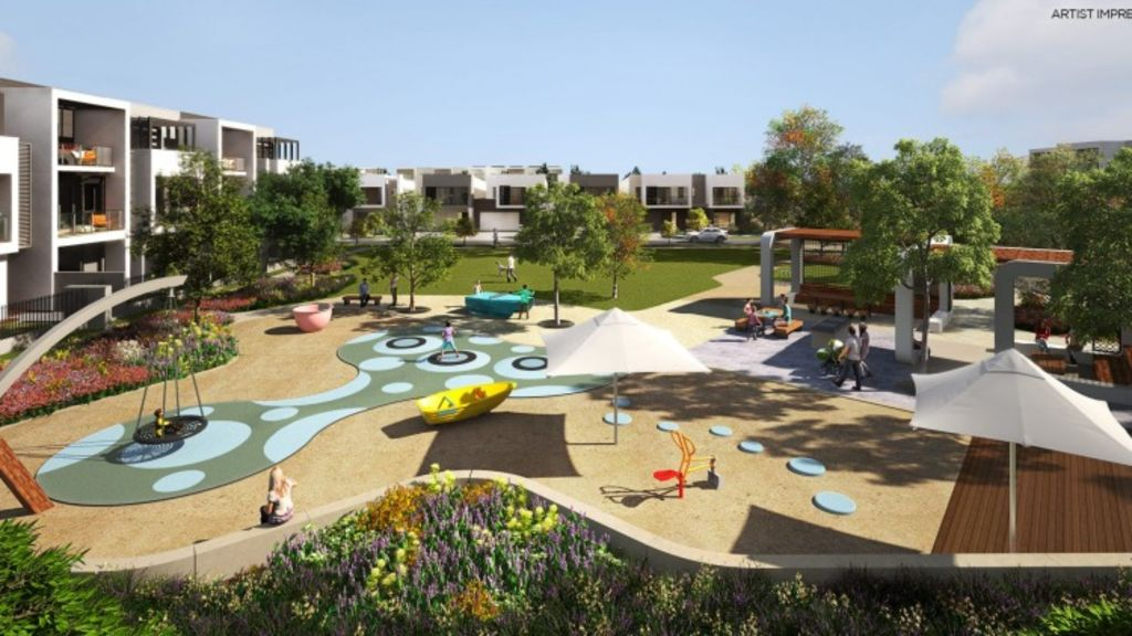 An artist's impression of a central park to be created in Mirvac's new master-planned community at Jack Road, Cheltenham. Photo: Supplied