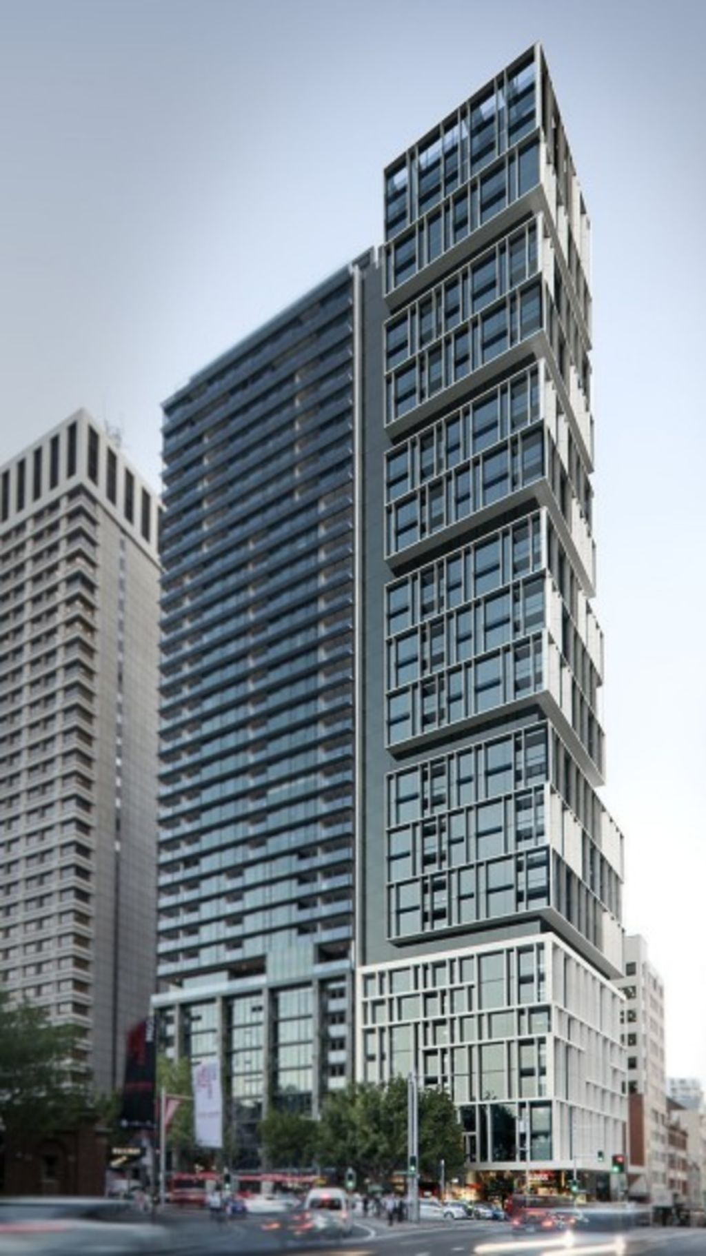 An artist's impression of the winning design by Bates Smart for 130 Elizabeth Street, opposite Hyde Park. Photo: domain.com.au