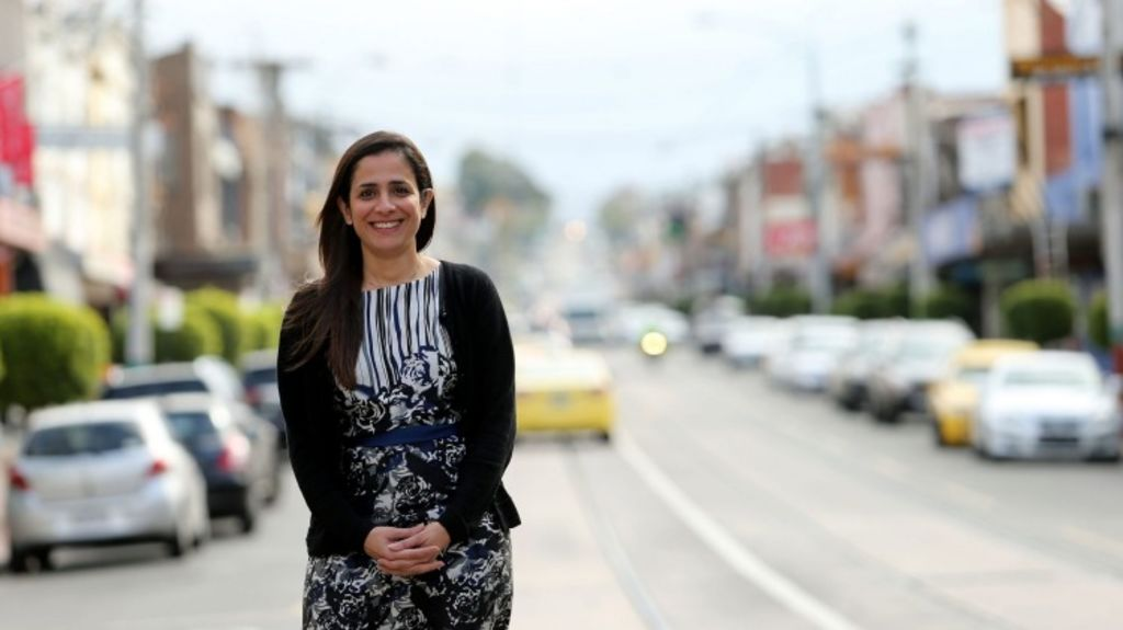 Anjali Sohani  on the Malvern Road shopping strip in Glen Iris. Sohani has purchased a two-bedroom apartment at the nearby Grace development. Photo: Pat Scala