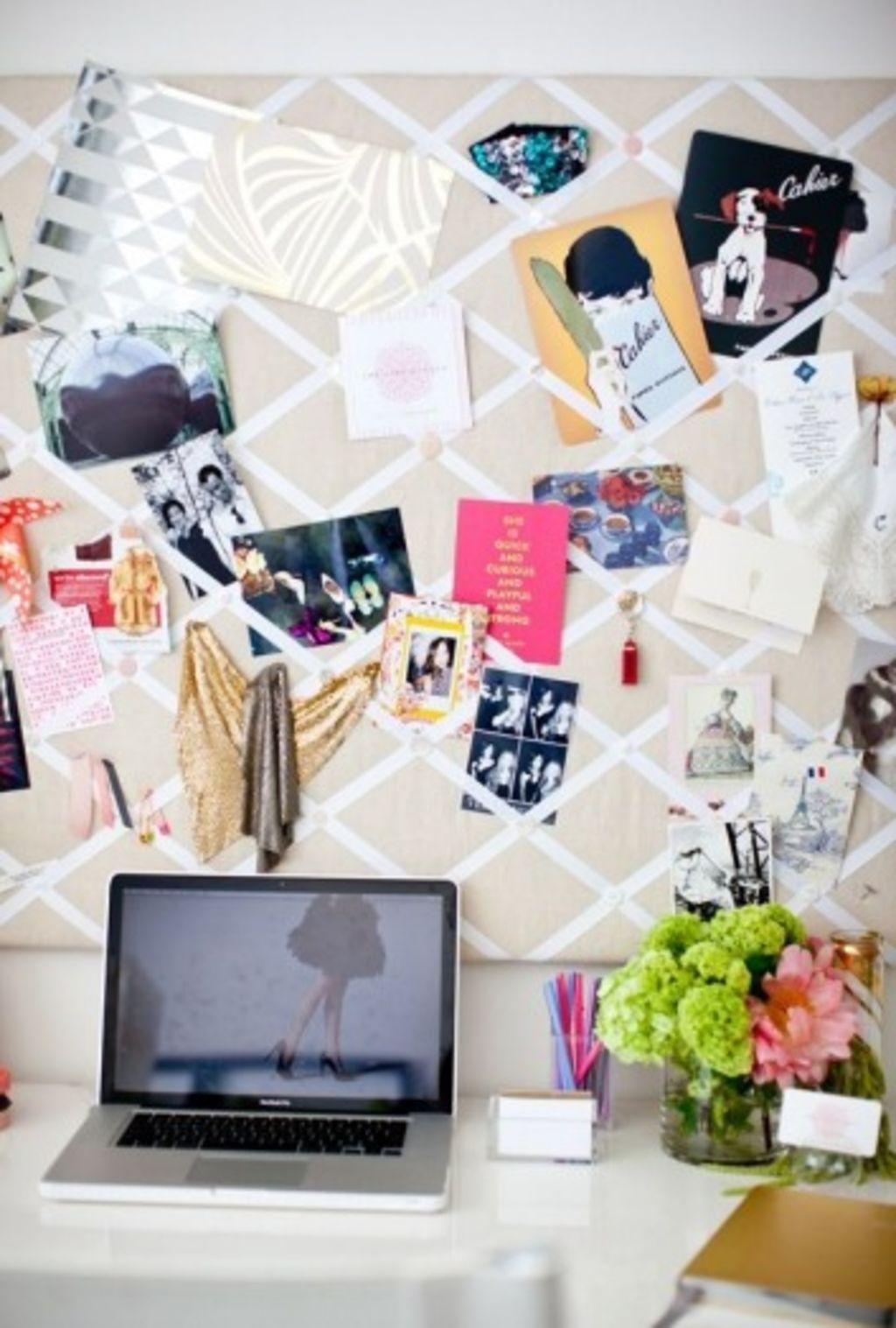 Interior stylist Sarah McGee's home office inspiration board. Photo: Brook Palmer