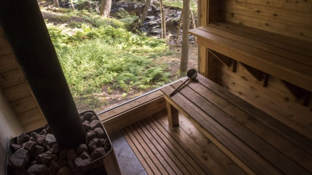 The sauna, an early workshop project at Beaver Brook camp. Photo: Theresa Ambrose, New York Times