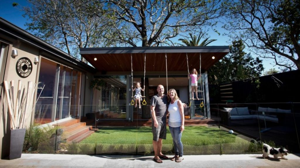 Robyn Amott, husband Michael and daughters Chloe and Jasmine at their Brighton East home. Photo: Arsineh Houspian