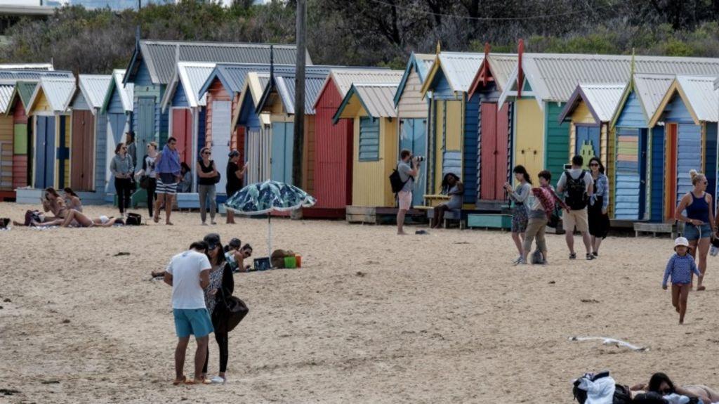 Dendy Beach beach boxes in Brighton. Photo: Luis Ascui