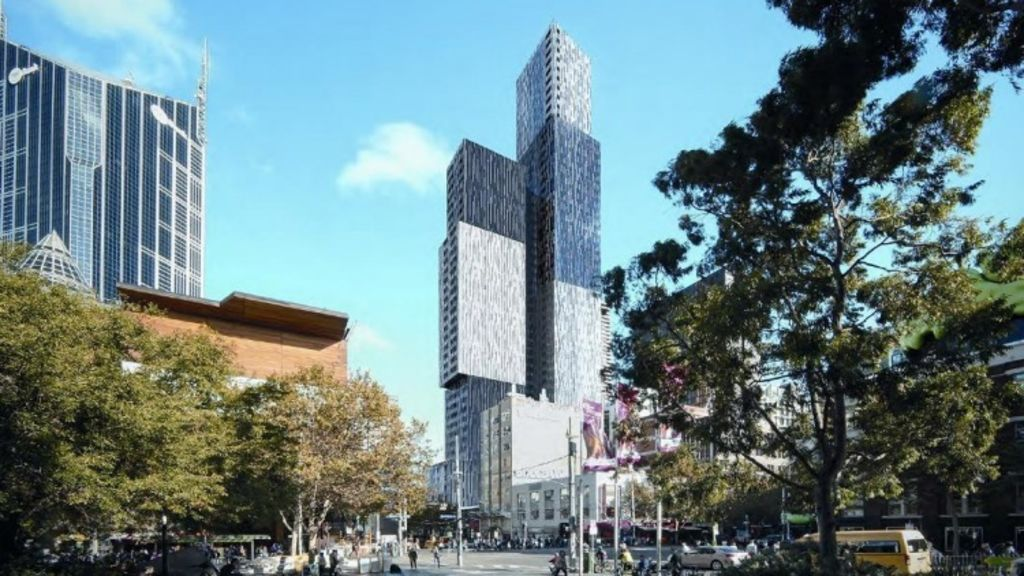 An artist's impression of proposed skyscrapers opposite RMIT University on Swanston Street. Photo: Supplied