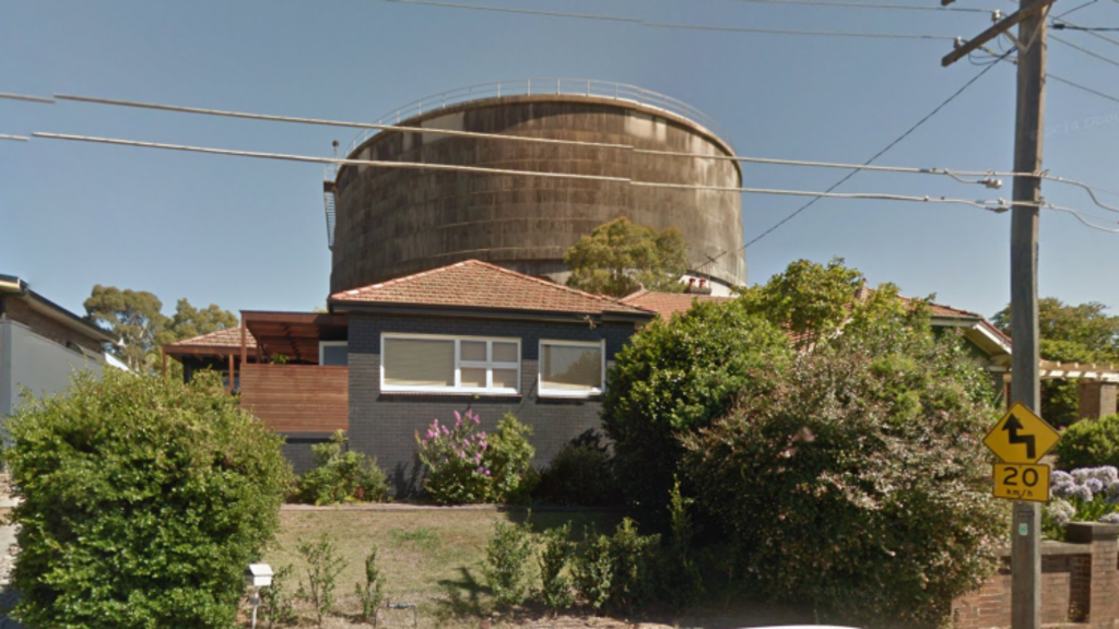 Househunters turned up to discover an imposing water tower overshadowing the home. Photo: Google Maps.