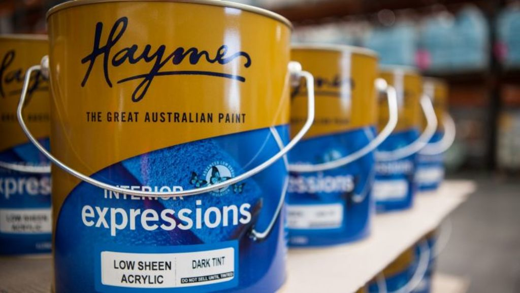 Retail ready: Haymes paint ready to be shipped. Photo: Alistair Walsh