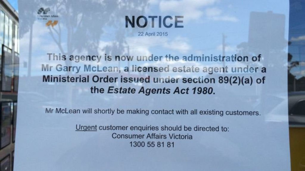 Sign posted on window of LJ Hooker branch office in Glen Waverley. Photo: Chris Vedelago