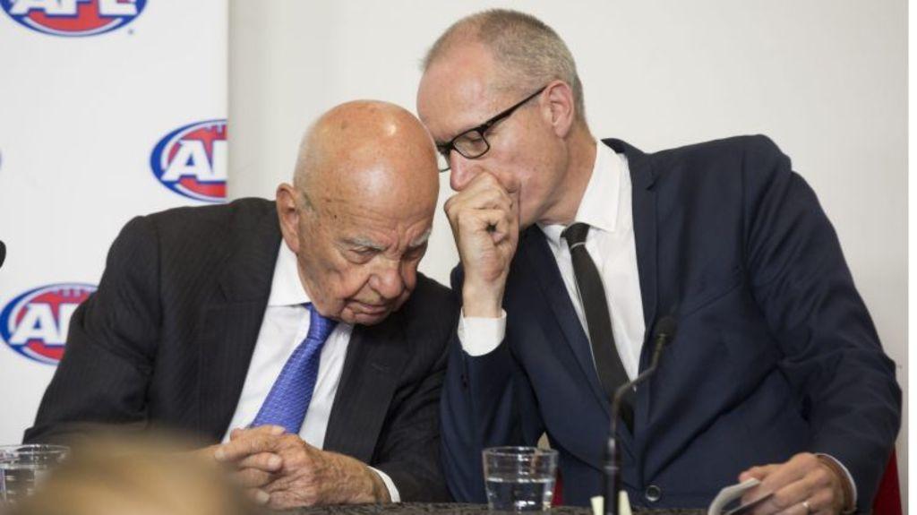 Robert Thomson (right), next to Rupert Murdoch. Photo: Simon O'Dwyer