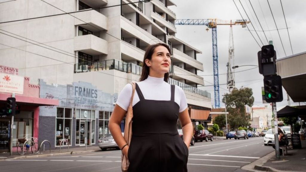 Developers are targeting the vast amount of young people, like economics student Catherine Sandow, who want to live in Brunswick. Photo: Paul Jeffers