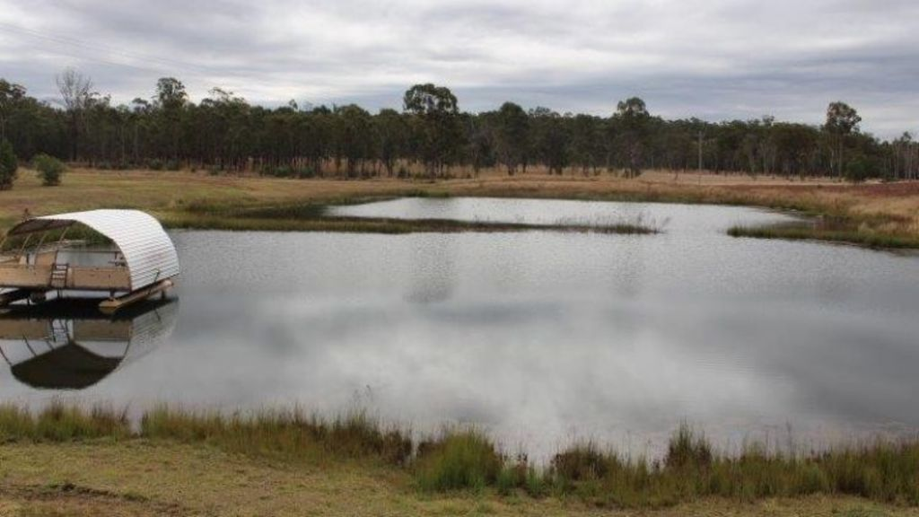 The giant dam comes with a floating pontoon, and is filled with crayfish. Photo: Supplied