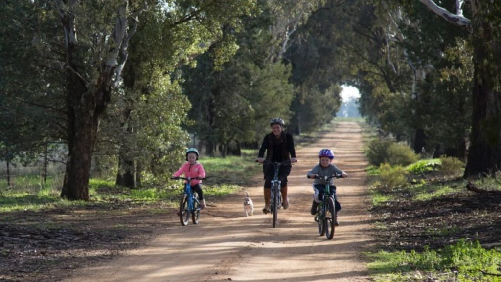 Dianna Somerville riding bikes with her children. Photo: Supplied