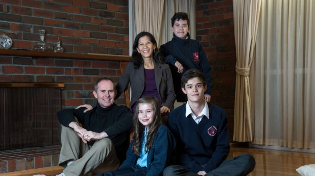 Amy Lim, husband Sven Anders Johnsson and kids David 16, Daniel 13 and Emily 10 have  moved into this home in the coveted Glen Waverley Secondary College zone. They've just moved from the UK.  Photo: PENNY STEPHENS. The Age. 26TH MAY 2016 Photo: Penny Stephens