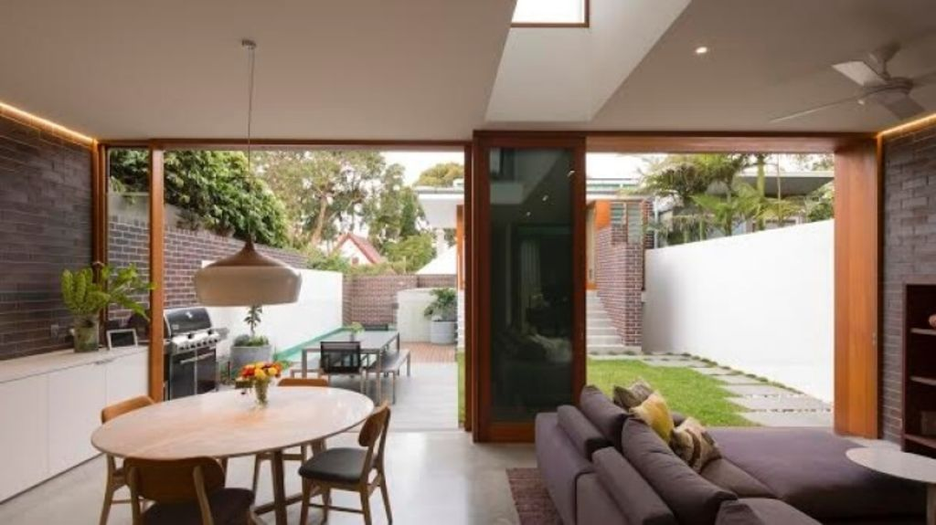 The loungeroom of the record-setting $4 million Green House at Hartley Street in Rozelle. Photo: Brett Boardman