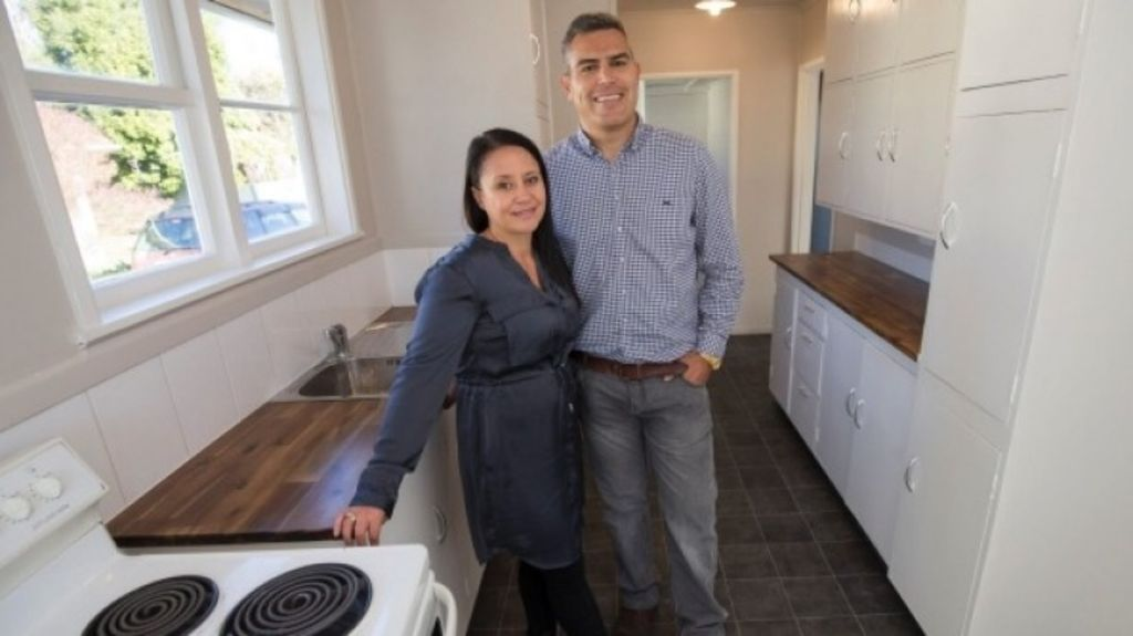 Property developers Hayley and Shane Tawhiti inside the renovated hous Photo: John Cowpland/Fairfax NZ