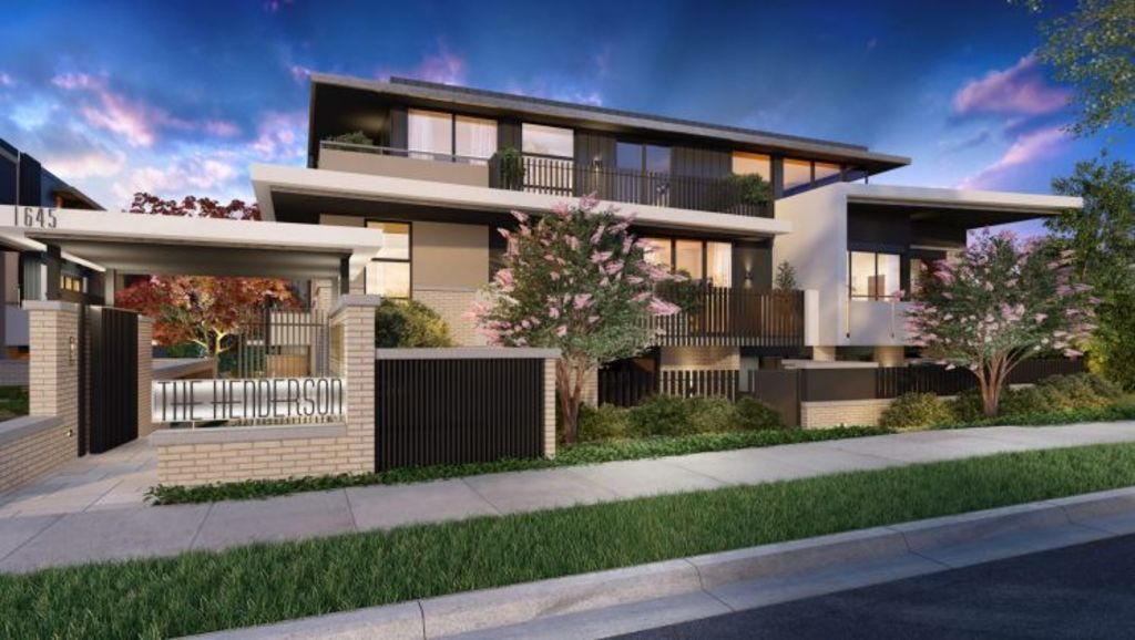 Modern lines: The Henderson on 1645 Malvern Road, Glen Iris, has 32 apartments and six townhouses. Photo: Supplied