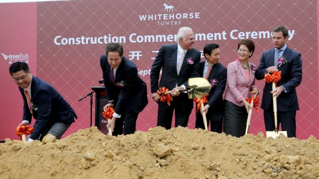 Soil has turned ceremony for Whitehorse Towers in Box Hill, set to be as tall as 36-storeys. Photo: Wayne Taylor