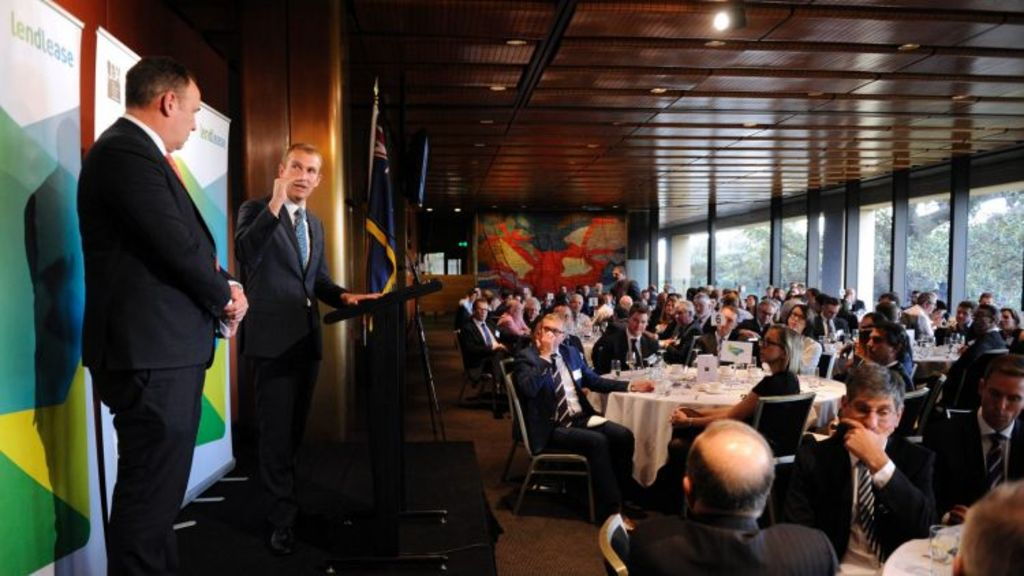 UDIA NSW chief executive Stephen Albin and Minister Rob Stokes presented to developers about the future of building and progress. Photo: Supplied