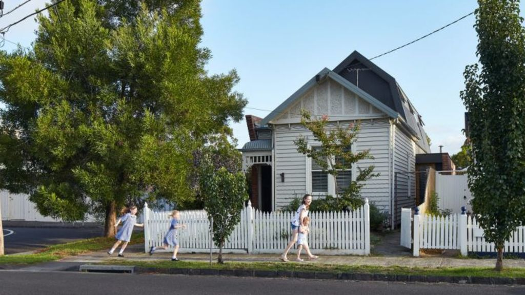 The weatherboard cottage in Northcote renovated by architect Sally Timmins. Photo: Peter Bennetts