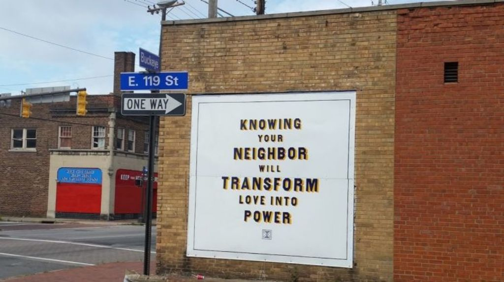 IOBY believes in the ethos of this sign in Ohio; small community projects builds stronger happier communities. Photo: Supplied