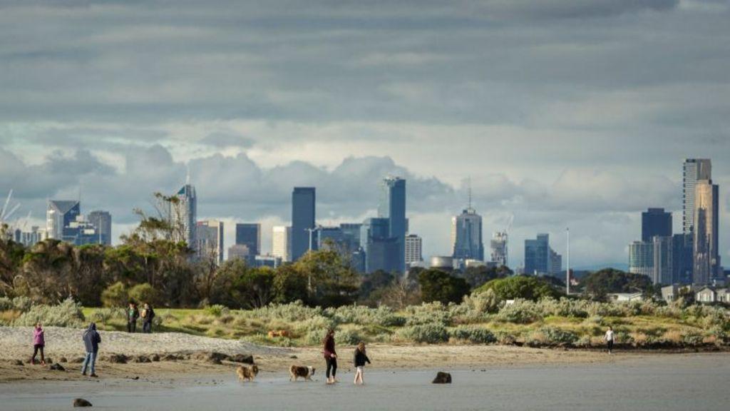 People and their dogs enjoying a sunny winter's day at Altona beach. Photo: Daniel Pockett