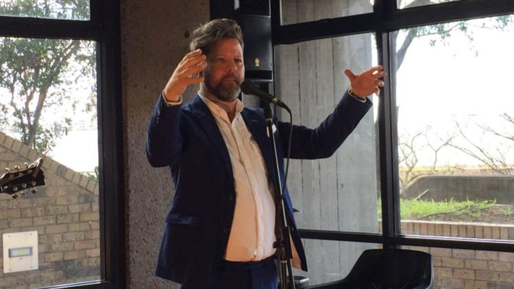 Stand-up comedian Tim Ross offered guests a rare glimpse inside Sirius. Photo: Ingrid Fuary-Wagner