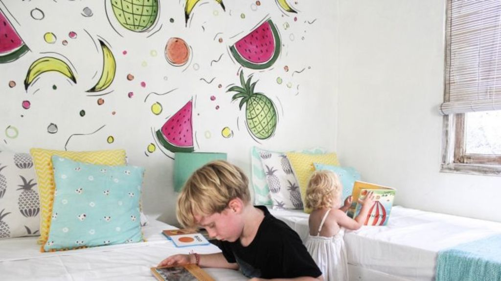 Nicole Nicol's children enjoying time in their Bali villa. Photo: Supplied