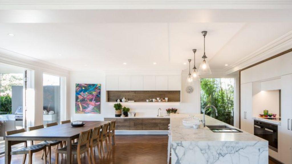 The kitchen makes a striking impression at 151 Raglan Street, Mosman. Photo: Domain.com.au