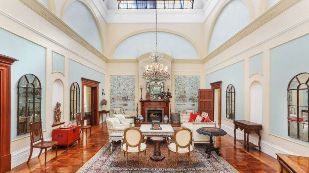 The central living room with its 10-metre ceilings. Photo: Supplied