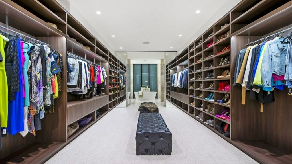 The dressing room in Jennifer Hawkins and Jake Wall's North Curl Curl home. Photo: Supplied