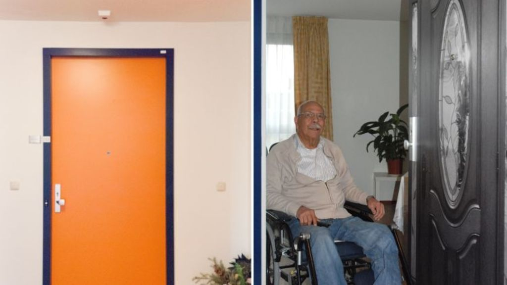 Mr Rojas' daughter arranged for him to get a personalised door, which helped alleviate his homesickness. Photo: True Doors