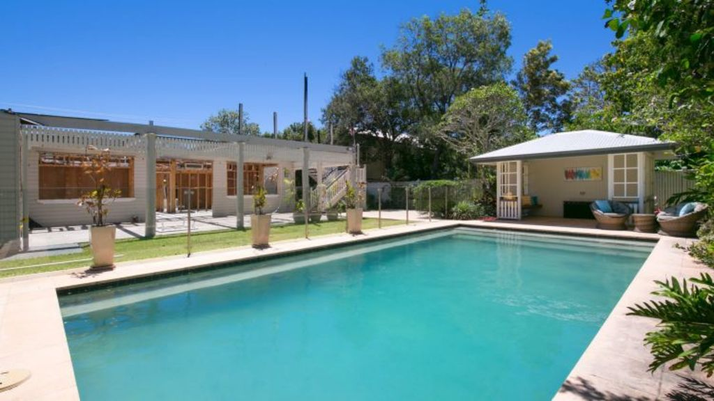 The home's newly built pool house, carport and the lower floor were left largely untouched by the blaze. Photo: Supplied