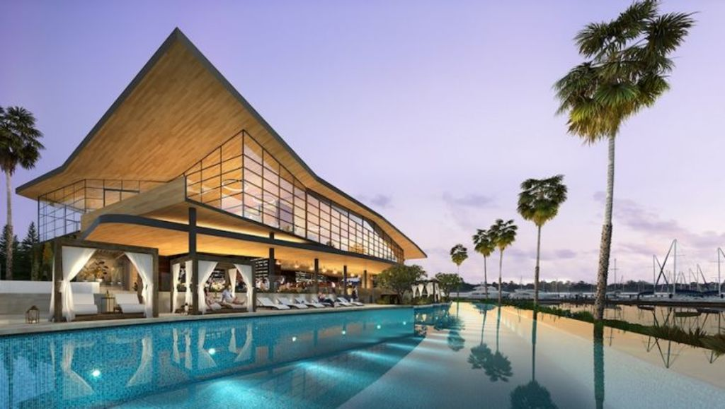 The Pullman Hotel pool at Trinity Point, Lake Macquarie Photo: Artist's impression