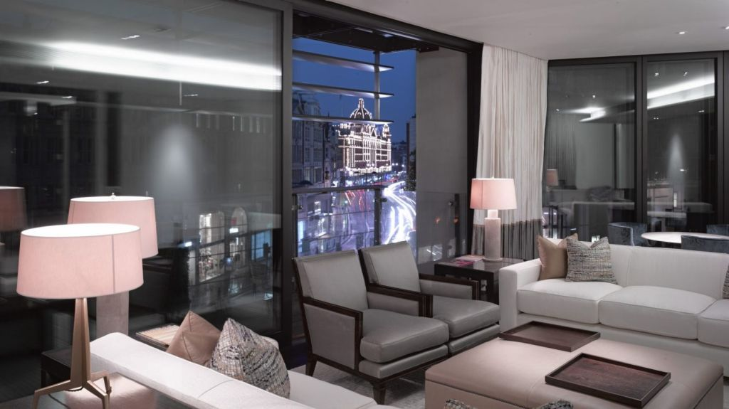 Interior view from an apartment at One Hyde Park looking towards Harrods. Photo: View Pictures